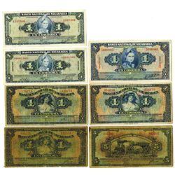 Banco Nacional De Nicaragua, 1938 to 1960 Banknote Assortment.