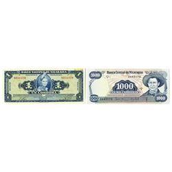 Nicaragua Banknote Pair, ca.1954-1979.