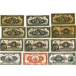 Banco Central De Reserva Del Peru, 1936 to 1956 Issues Banknote Assortment.