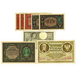 Bank Polski, Polska Nrajowa Kasa, ca. 1919-1924, Octet of Issued Notes