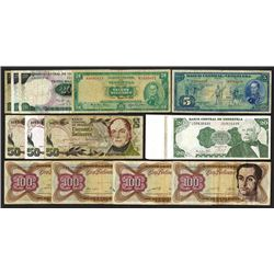 Banco Central Venezuela Banknote Assortment.