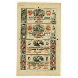 Hagerstown Bank, 18xx ca.1840-50's Uncut Remainder Obsolete Banknote Sheet.