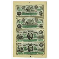State of South Carolina, 1872 Uncut Sheet of 4 notes.