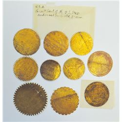 Gold Seals from Various Stock and Bond Certificates and Legal Documents, ca.1870-1920's.