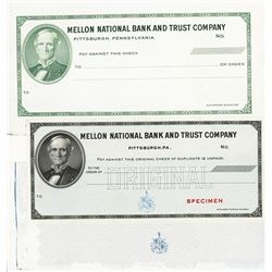 Mellon National Bank & Trust Specimen Check Production Trio Specimens and Proofs.