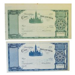 Pair of City Treasurer Checks, 1936 & 1937 Specimens