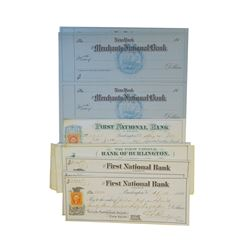 First National Bank of Burlington Issued Checks and Merchants National Bank Check Certificates, ca.1