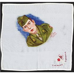 U.S. Soldier's Portrait on Embroidered silk handkerchief 1946 Japan, Post WWII.