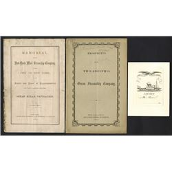 Steamship and Steamboat Prospectus, Proof Ticket and New York Senate Hearing Pamphlet.