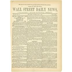 Wall Street Daily News, 1886 with Stock Listing and Advertisements