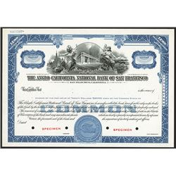 Anglo California National Bank of San Francisco Specimen Stock.