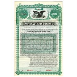 National Union Co., 1891 Specimen Bond