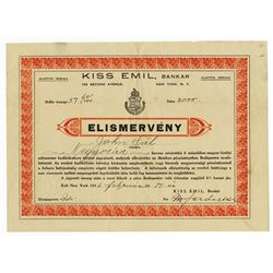 Kiss Emil, Bankar - Elismerveny, 1916 Issued Bond.