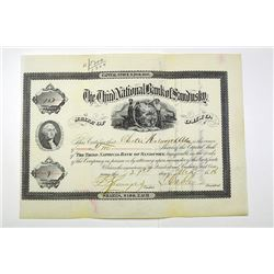 Third National Bank of Sandusky, 1886 Issued Stock Certificate