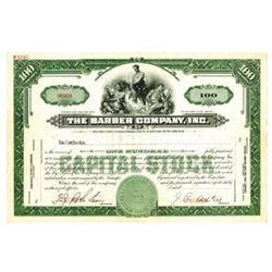 Barber Co., Inc., ca.1940-1950 Specimen Stock Certificate