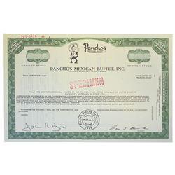 Pancho's Mexican Buffet, Inc., 1969 Specimen Stock Certificate