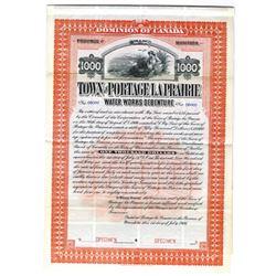 Town of Portage La Prairie, 1906 Specimen Bond