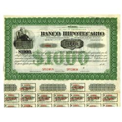 Banco Hipotecario, ca.1900-1920 Specimen Bond