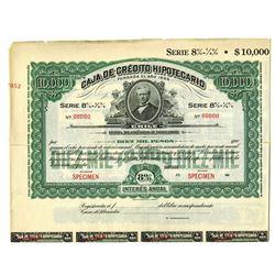 Caja de Credito Hipotecario, ca.1890-1900 Specimen Bond