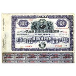 Caja de Credito Hipotecario, ca.1900-1920 Specimen Bond