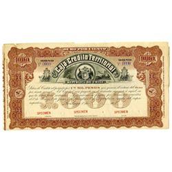 Caja de Credito Territorial, ca.1890-1910 Specimen Bond