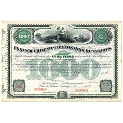 El Banco Chileno Garantizador de Valores, ca.1900-1910 Specimen Bond