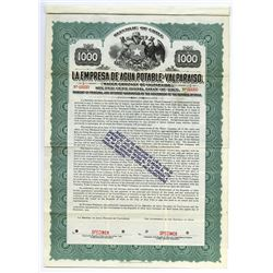 Water Co. of  Valparaiso, 1915 Specimen Bond