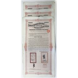 Chinese Imperial Railway Shanghai-Nanking Railway, 1903 Lot of 3 Issued Bonds