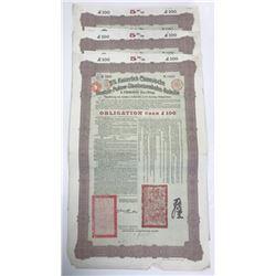 Kaiserlich Chinesische Tientsin-Pukow-Staatseisenbahn-Anleihe, 1908 Lot of 3 Issued Bonds