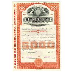 Banco de Descuento, 1972 Specimen Bond