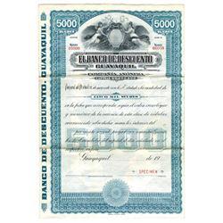 El Banco de Descuento, ca.1970-1980 Specimen Bond