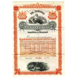 El Banco Territorial, ca.1970-1980 Specimen Bond