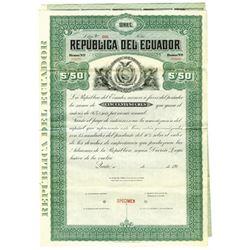 Republica del Ecuador, ca.1910-1920 Specimen Bond
