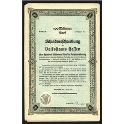 Hessen State Bond. 1923.