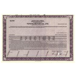 Toyota Motor Co., Ltd., 1989 Specimen Stock Certificate