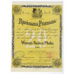 Republica Peruana, Bonos de Reconstruccion, 1894 Issued Bond.