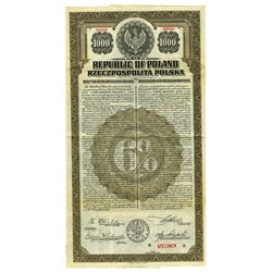 Republic of Poland, 1920 Specimen Bond