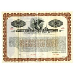 United Post Offices Corp., 1936 Specimen Bond
