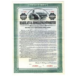 Harlan & Hollingsworth Corp., 1912 Specimen Bond