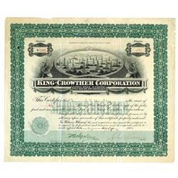 King-Crowther Corp., 1909 Issued Stock Certificate