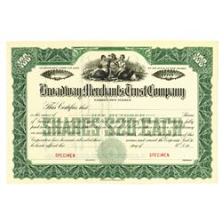 Broadway Merchants Trust Co., ca.1940-1950 Specimen Stock Certificate