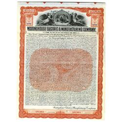 Westinghouse Electric & Manufacturing Co., 1907 Specimen Bond