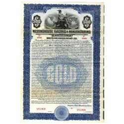 Westinghouse Electric & Manufacturing Co., 1920 Specimen Bond