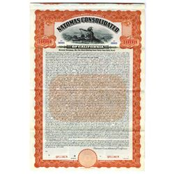 Natomas Consolidated of California, 1910 Specimen Bond