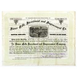 Sioux Falls Investment and Improvement Co., 1889 Stock Certificate with Text on Back Relating to Mak