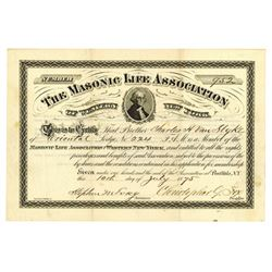 Masonic Life Assoc., 1875 Issued Membership Certificate Similar to an Insurance Company,