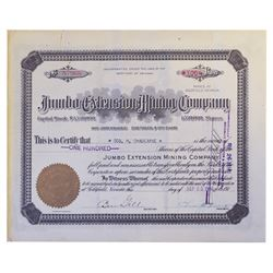Jumbo Extension Mining Co., 1916 Lot of 10 Issued Stock Certificates