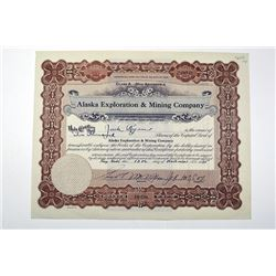 Alaska Exploration & Mining Co., 1935 Specimen Stock Certificate
