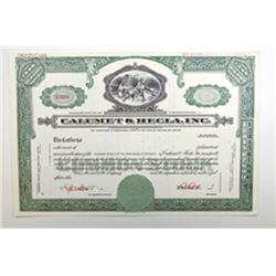 Calumet & Hecla, Inc.,, 1968 Specimen Stock Certificate