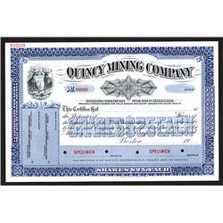 Quincy Mining Co. 19xx (ca.1910-30) Specimen Stock Certificate.